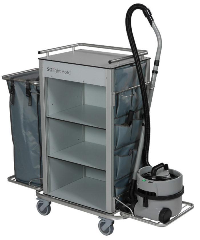 Wozek hotelowy housekeeping Easy1 z workiem kieszeniami na drobiazgi 700x840 - Wózek hotelowy housekeeping Easy 1