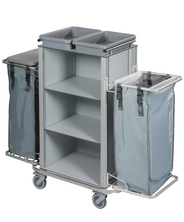 Wozek hotelowy housekeeping Easy1 z workiem kuwetami i pokrywa 700x844 - Wózek hotelowy housekeeping Easy 1
