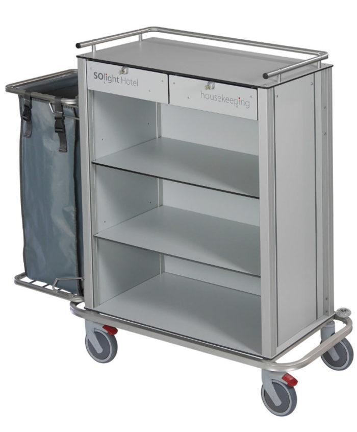Wozek hotelowy housekeeping Easy2 z szufladami i workiem 700x846 - Wózek hotelowy housekeeping Easy 2