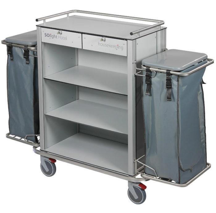 Wozek hotelowy housekeeping Easy2 z szufladami workiem i pokrywami 700x690 - Wózek hotelowy housekeeping Easy 2