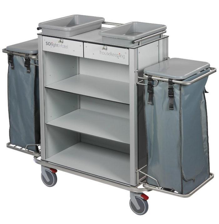 Wozek hotelowy housekeeping Easy2 z szufladami workiem pokrywami i kuwetami 700x718 - Wózek hotelowy housekeeping Easy 2
