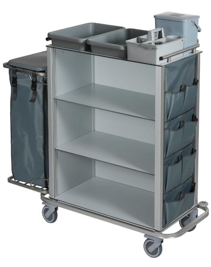 Wozek hotelowy housekeeping Easy2 z workiem pokrywa kieszeniami kuwetami wiaderkiem 6l 700x886 - Wózek hotelowy housekeeping Easy 2